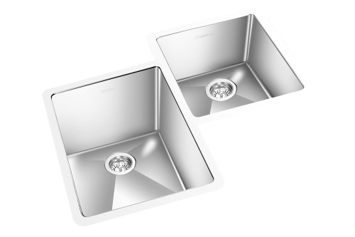 "GEM DOUBLE KITCHEN ROUND CORNER SINK UNDERMOUNT 30"" x 21"""