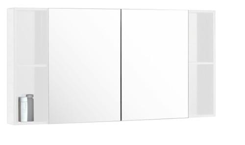 """48"""" Medicine Cabinet Mirror With Shelving White/ Espresso"""