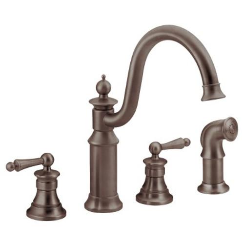 Moen Waterhill Two Handle High Arc Kitchen Faucet Oil Rubbed Bronze