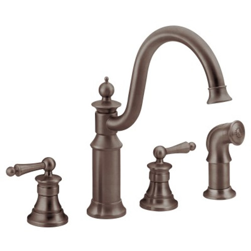 Moen Waterhill Two Handle High Arc Kitchen Faucet Oil Rubbed Bronze
