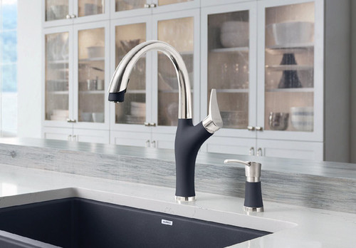 BLANCO ARTONA Kitchen Faucet in Stainless Finish / Anthracite