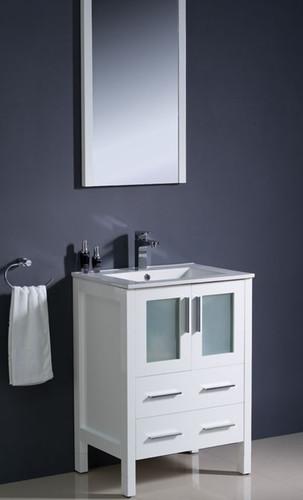 """Bello 24"""" White Bathroom Vanity"""