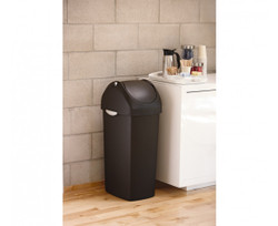 Simplehuman, Swing Lid Trash Can, Black Plastic, 60-liter (CW1333), Installation View