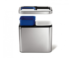 Simplehuman, Slim Opener Recycler Trash Can (CW1470), Open