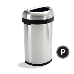 Simplehuman Semi-Round Open Trash Can (CW1468), Front