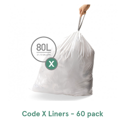 Simplehuman Custom Fit Trash Can Liners, Code X - 60 Pack