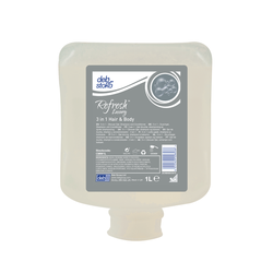 Deb Refresh Luxury 3-in-1 Cream Body Wash, Shampoo and Conditioner, 1 Liter Cartridge (6 refills/case)