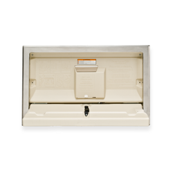 Koala Kare Standard Horizontal Plastic Baby Changing Station with Stainless Steel Flange Recess Mount - Cream