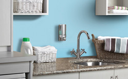 AVIVA Single Soap Dispenser, 1 Chamber, Satin Silver, Installation View