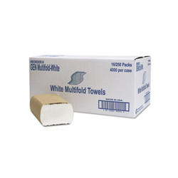 Multifold Towel, White, 1-Ply, GENMULTIFOLDWH (250 towels/pack) (16 packs/case)
