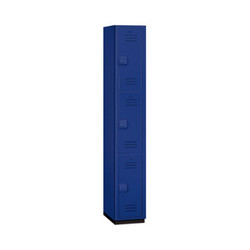 "Salsbury Triple Tier Heavy Duty Plastic Locker, 18"" Deep Blue"