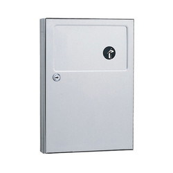 Bobrick Napkin/Tampon Receptacle for Toilet Partitions, Stainless Steel, B-254