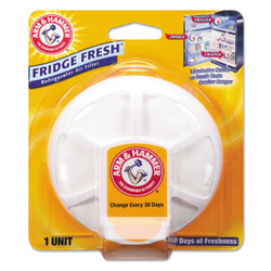 Fridge Fresh baking soda unit with suction cups to adhere to inside of refrigerator.
