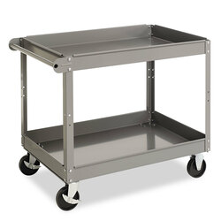"Tennsco Two-Shelf Metal Cart. 3-3/8"" tray lip reverses to a flat top."