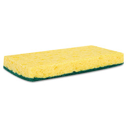 Cellulose sponge on one side, nylon scrub pad on the other.