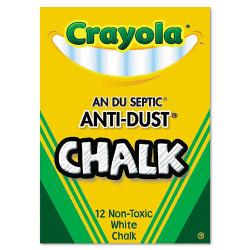 Crayola Nontoxic Anti-Dust Chalk, White, 12 Sticks/Box