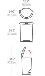 Simplehuman Semi-Round Step Can, Plastic, Black, CW1355