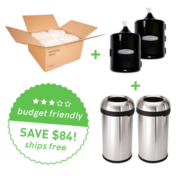 New Club Bundle: Zogics Sanitizing Gym Wipes (4 rolls/case) + 2 Upward Gym Wipes Dispenser + 2 Simplehuman Bullet Open Cans, 60-liter