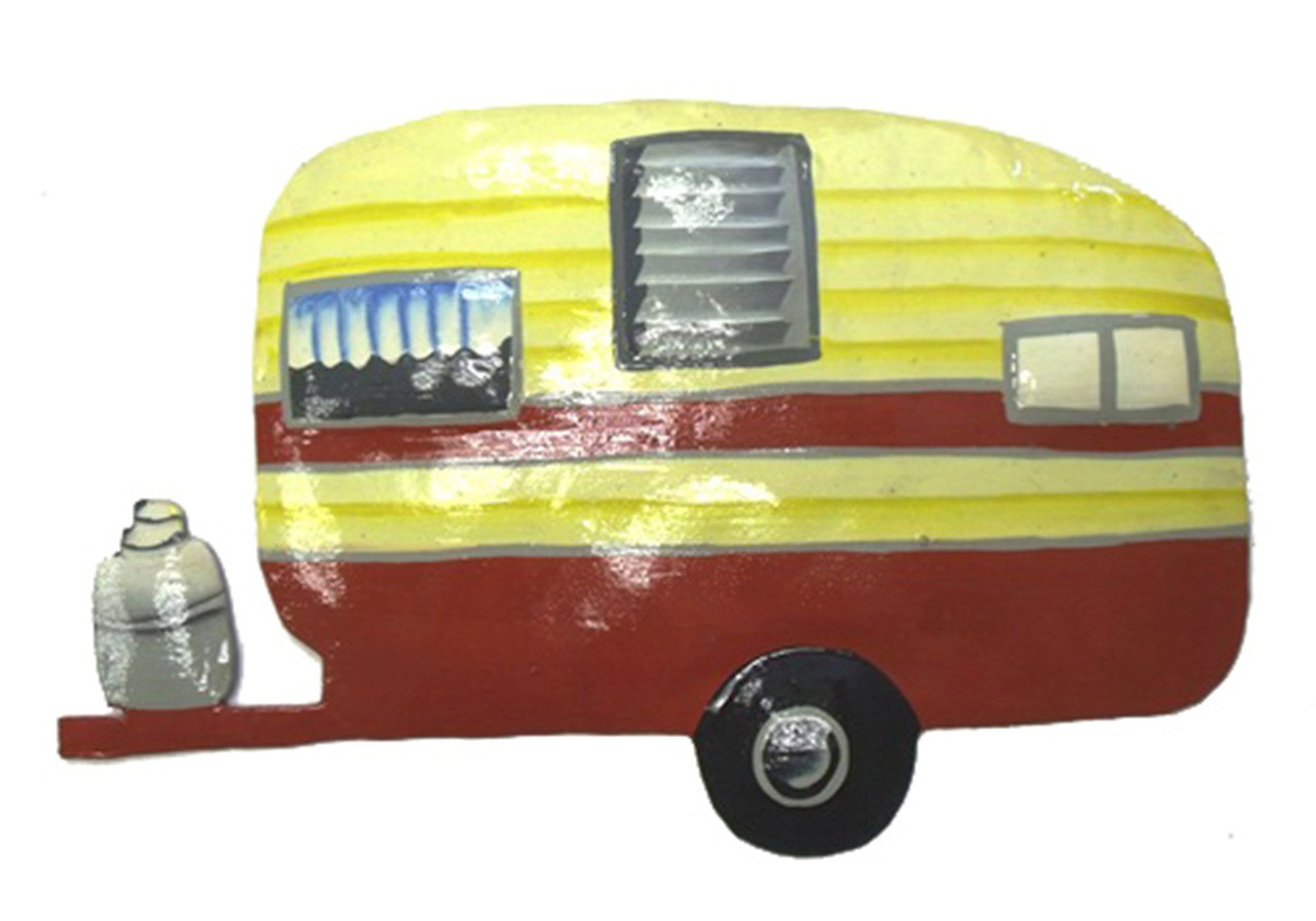 Vintage Look RV Camper Trailer Red Home on Wheels Haitian Metal Art ...