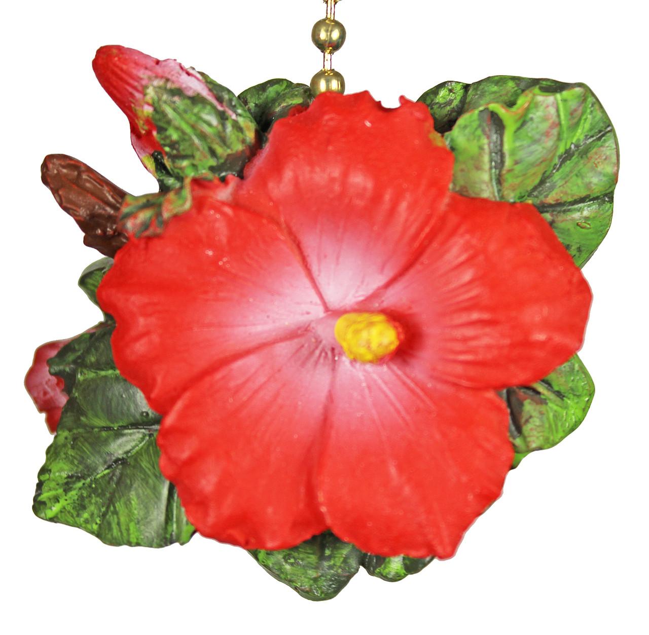 Tiki Tropical Hibiscus Flower Decor Ceiling Fan Light Pull
