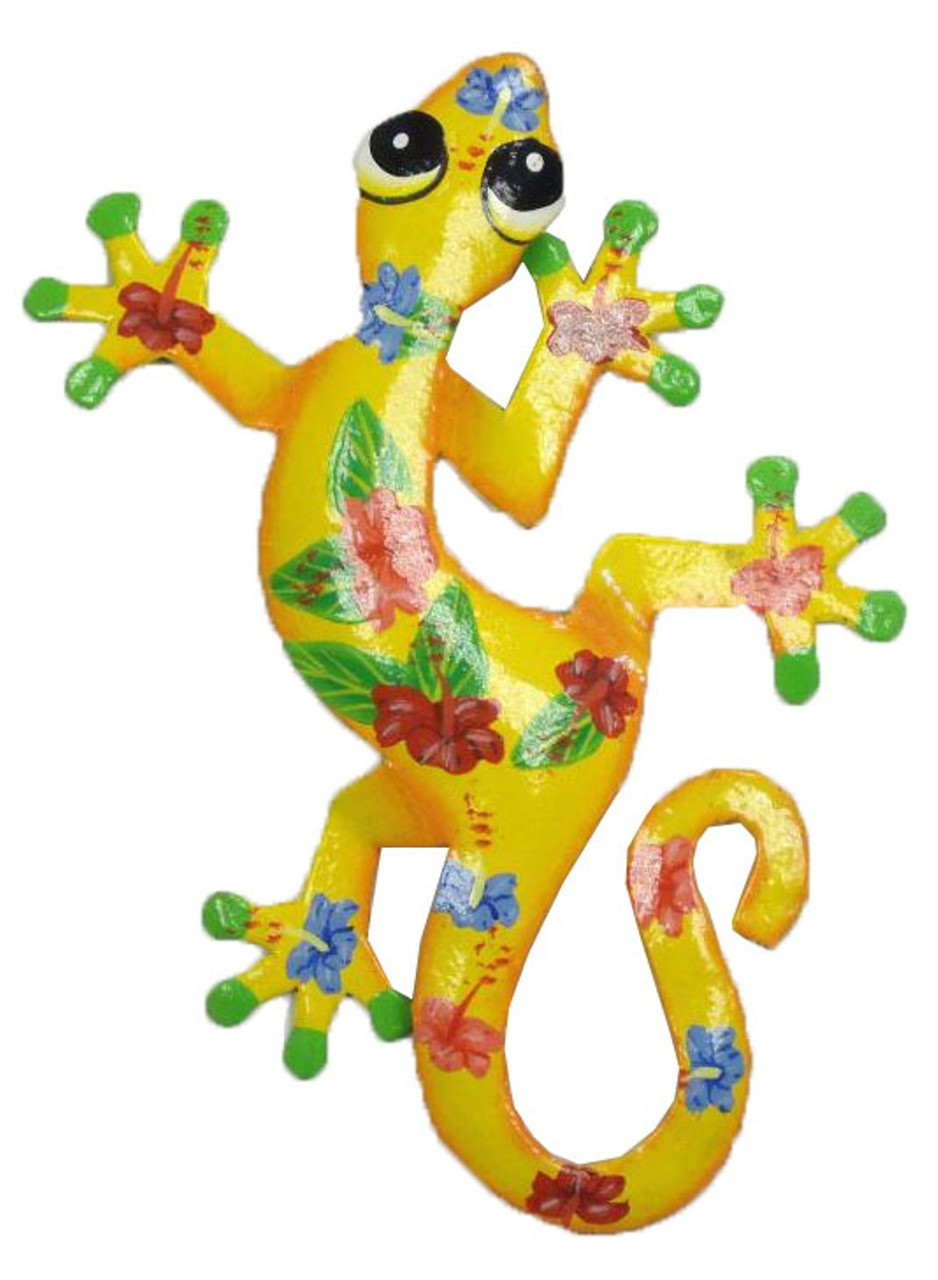 Tropical Hibiscus Yellow Gecko Lizard Haitian Metal Art Large 18 ...