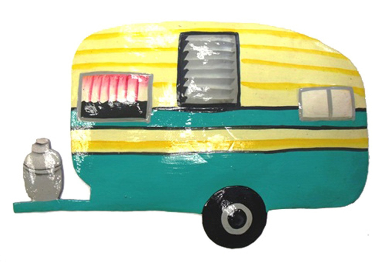 Vintage Look RV Camper Teal Trailer Home on Wheels Haitian Metal ...