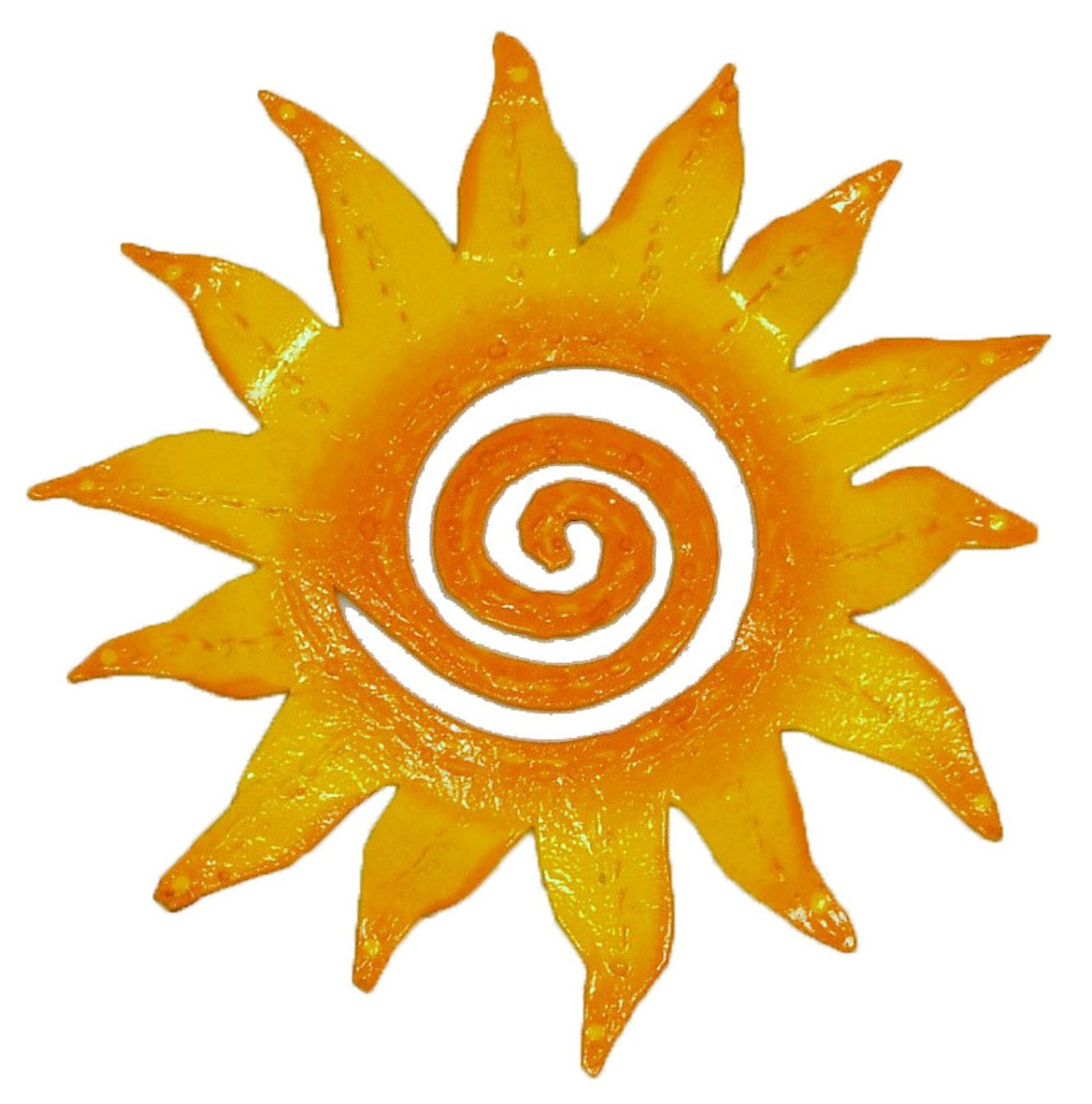 Hand Crafted Tropical Sun Rays Haitian Metal Art Orange 8 inch ...