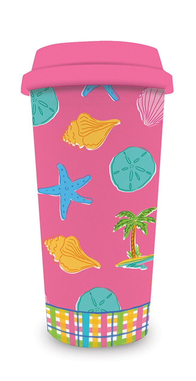 Palm beach preppy pink shells 16 ounce coffee latte for Kitchen design 01532