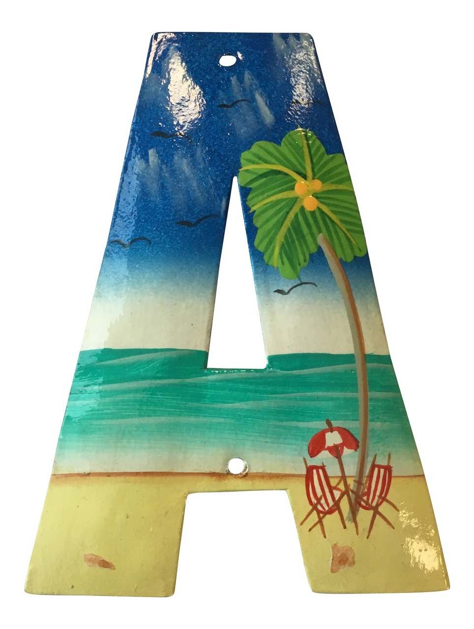 House Number Letter A Tropical Reef Beach Haitian Metal Art Hand Crafted Mary B Decorative Art