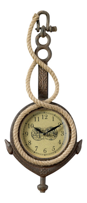 Anchor Shaped Battery Operated Wall Clock Metal and Jute Rope 18 Inch