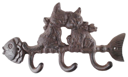 Antique Reproduction Cast Iron Cat Fish Wall Hook