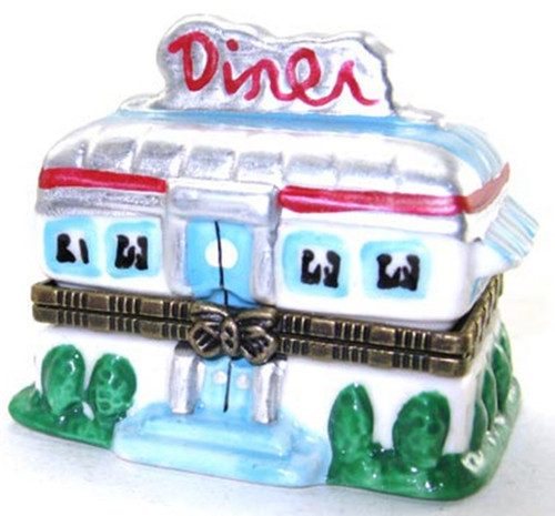 1950's Soda Fountain Diner Hinged Trinket Box  phb