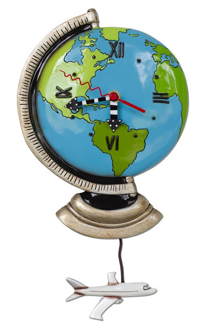 Around the World Blue Globe Wall Clock and Airplane Pendulum