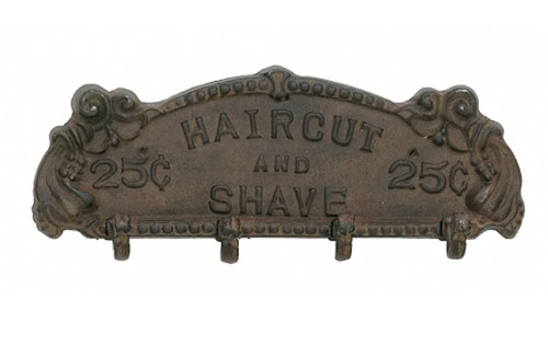 Barber Hair Cut and Shave 25 Cents Wall Hooks Antiqued Rust Cast Iron Wall Hooks