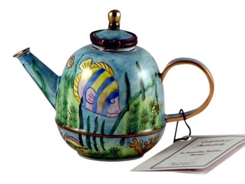 Tropical Fish Enameled Hinged Miniature Teapot