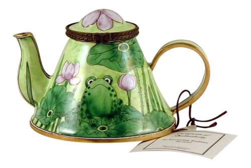 Nice Frog Lilypad Enameled Hinged Miniature Teapot