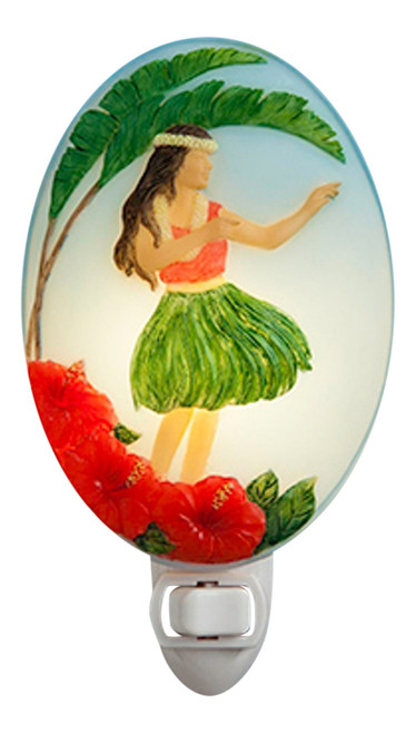 Beautiful Girl Hula Dancer Bonded Marble Night Light