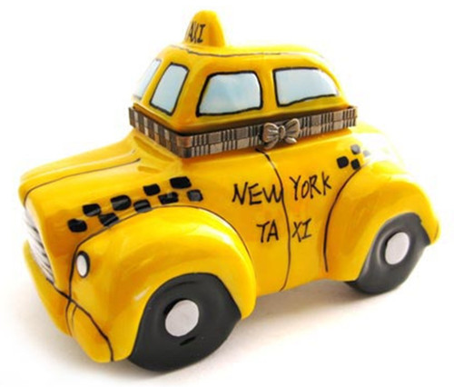 New York Yellow NY Taxi Cab Cabbie Driver Porcelain Hinged