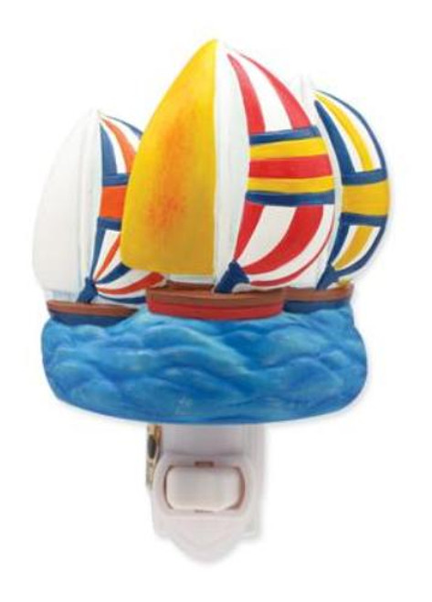 Bright Colorful Spinnakers Sailboats Sculpted Resin Night Light
