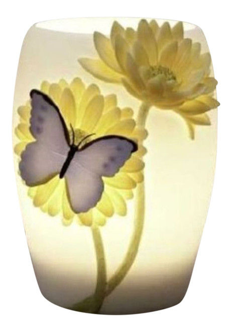 Blue Butterfly and Yellow Gerber Daisy Electric Table Night Lamp 15 Watt