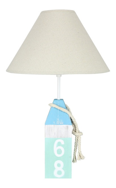 Coastal Blue and Teal Wood Buoy Lamp with Shade 40 Watt 21 Inch