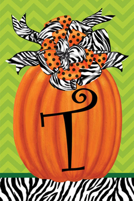 Beautiful Autumn Zebra Pumpkin  Monogram T Double Sided Garden Flag