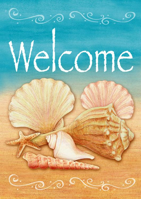 Beach Welcome Shell Starfish Sand Fun Standard Flag SF 40 Inches