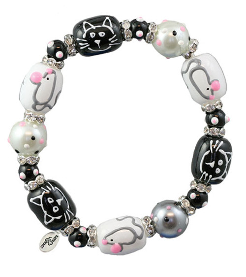 Cat and Mouse Rhinestone Glass Beaded Kate and Macy Stretch Bracelet