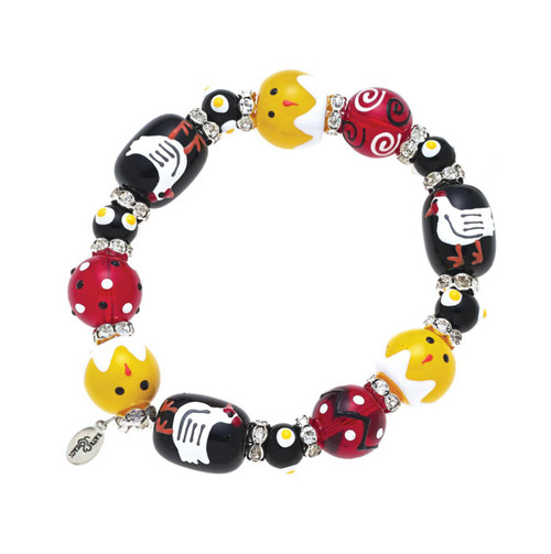 Chickens n Chicks Rhinestone Glass Beaded Kate and Macy Stretch Bracelet