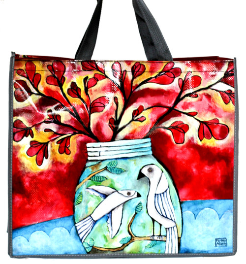 Bird and Flowerpot 17 Inch Shopper Bag Beach Tote Allen Designs