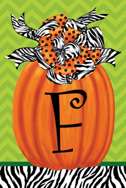 Beautiful Autumn Zebra Pumpkin  Monogram F Double Sided Garden Flag
