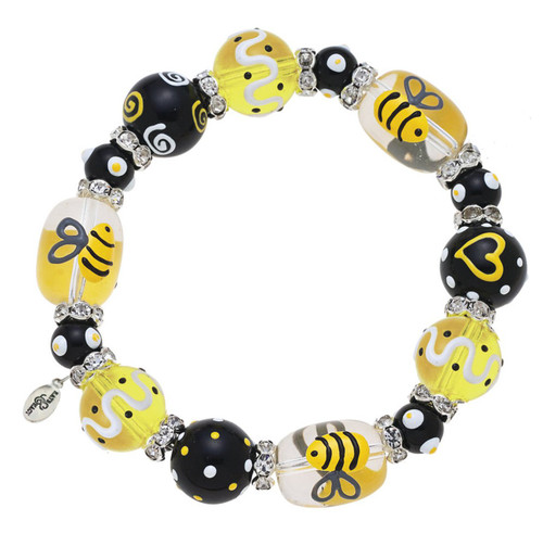 Bee Rhinestone Glass Beaded Kate and Macy Stretch Bracelet