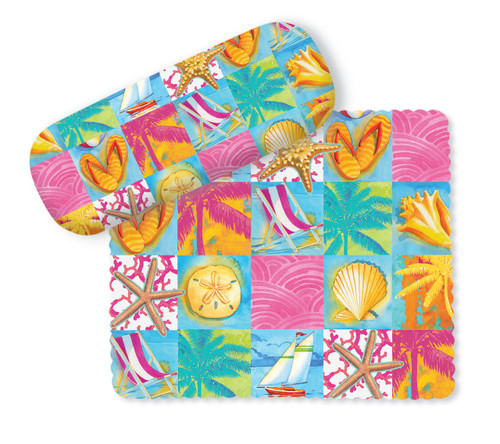 Beach Patchwork Shells Palms Sea Flip Flops Eye Glasses Case and Lens Cloth