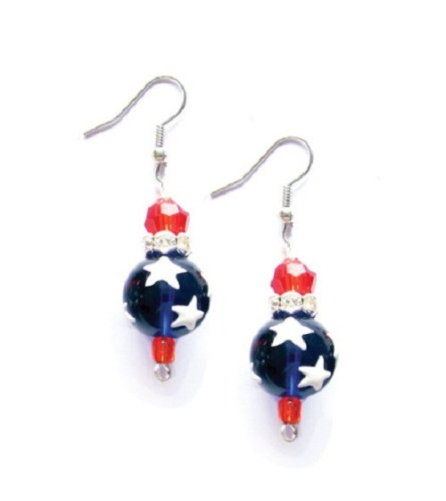 All American Red White Blue Rhinestone Glass Bead Kate and Macy Earrings